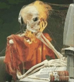 The skeleton of a man who has died while waiting for tech support.